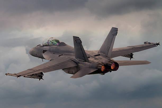 Jet Fighter taking off with afterburner